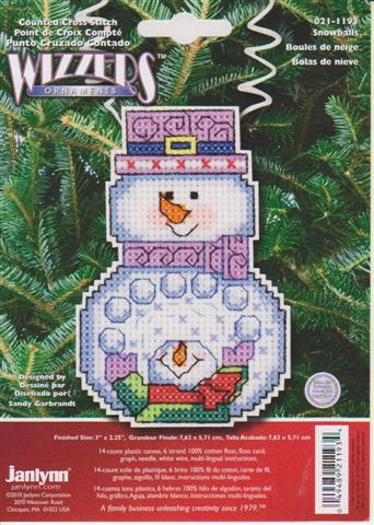 click here to view larger image of Snowman with Snowballs - Holiday Wizzers (counted cross stitch kit)