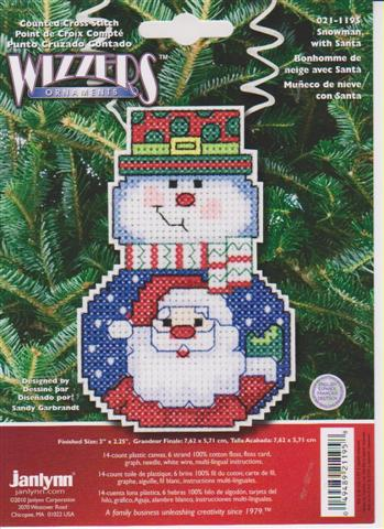click here to view larger image of Snowman With Santa - Holiday Wizzers (counted cross stitch kit)