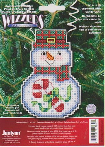 click here to view larger image of Snowman With Candy Cane (counted cross stitch kit)