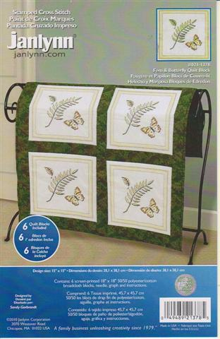 click here to view larger image of Fern & Butterfly Quilt Block (stamped cross stitch)