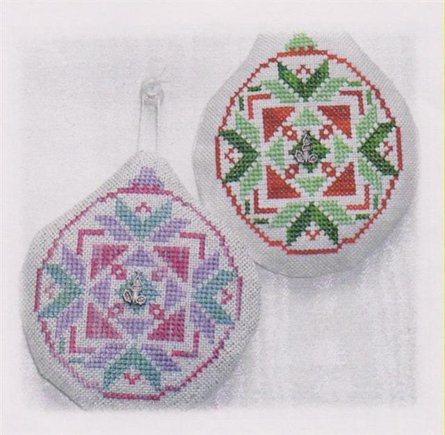 click here to view larger image of Old Fashion Quilt Ornament - Candle Flame (chart with charms/buttons)