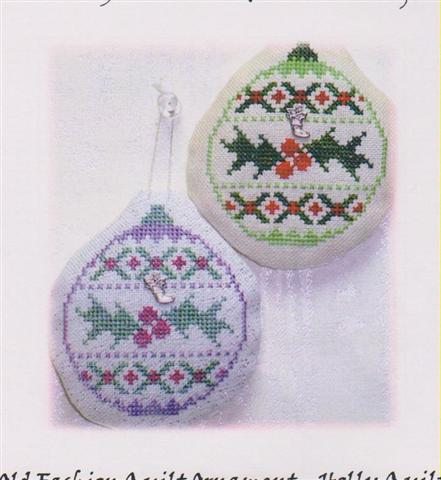 click here to view larger image of Old Fashion Quilt Ornament - Holly Quilt (chart with charms/buttons)