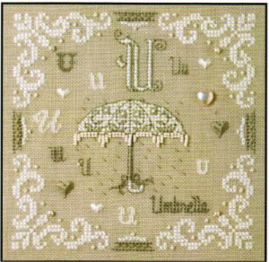 click here to view larger image of U is For Umbrella (counted cross stitch kit)