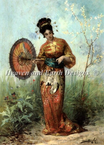 click here to view larger image of Japanese Woman with Parasol (chart)