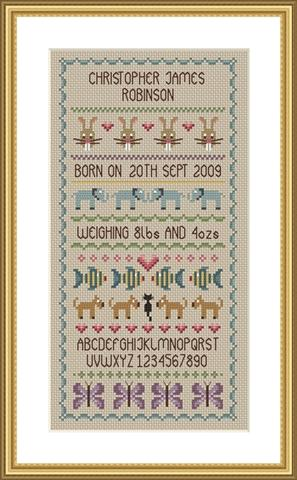 click here to view larger image of Baby Boy Birth Sampler (chart)