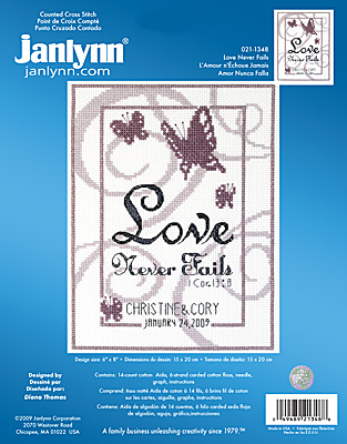 click here to view larger image of Love Never Fails (counted cross stitch kit)