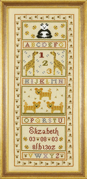 click here to view larger image of Animal Alphabet Birth Sampler (KIT) (counted cross stitch kit)