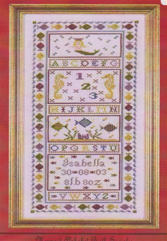 click here to view larger image of Mermaid Alphabet Birth Sampler (chart)