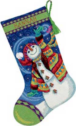 click here to view larger image of Happy Snowman Stocking (needlepoint)
