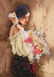 click here to view larger image of Woman with Bouquet (counted cross stitch kit)