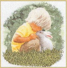 click here to view larger image of Little Boy with Bunny - Aida (counted cross stitch kit)