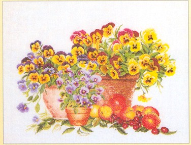 click here to view larger image of Pansies, Pansies, Pansies - Aida (counted cross stitch kit)