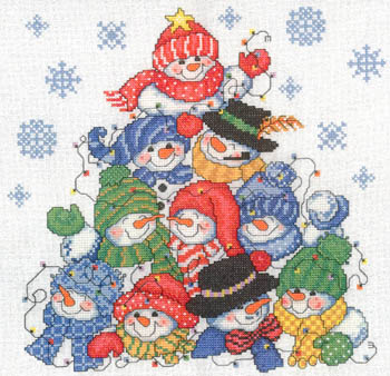 click here to view larger image of Stacking Snowmen - Kit (counted cross stitch kit)