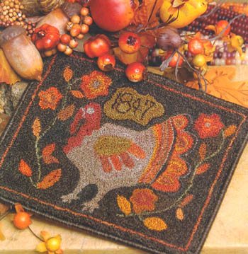 click here to view larger image of Primitive Gobbler (punchneedle w/fabric) (Punchneedle)