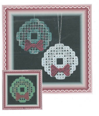 click here to view larger image of Hardanger Christmas Wreath (w/beads) (chart)
