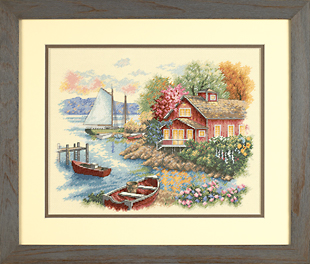 click here to view larger image of Peaceful Lake House (counted cross stitch kit)