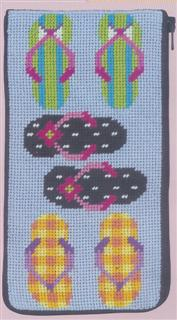 click here to view larger image of Flip Flops - Eyeglass/Cellphone Case (needlepoint)