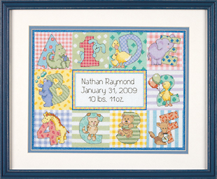 click here to view larger image of Zoo Alphabet Birth Record (counted cross stitch kit)