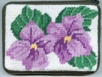 click here to view larger image of Sweet Violets Coin Purse (needlepoint kits)