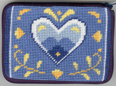 click here to view larger image of Blue & White Hearts (needlepoint)