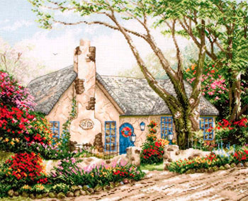 click here to view larger image of Morning Glory Cottage (counted cross stitch kit)