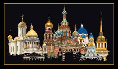 click here to view larger image of St Petersburg (on black) (counted cross stitch kit)