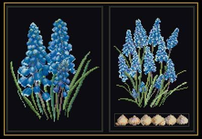 click here to view larger image of Blue Flower (on black) (counted cross stitch kit)