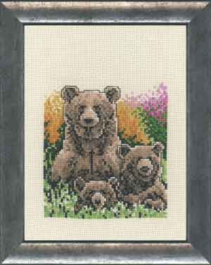 click here to view larger image of Brown Bear with Two Cubs (counted cross stitch kit)