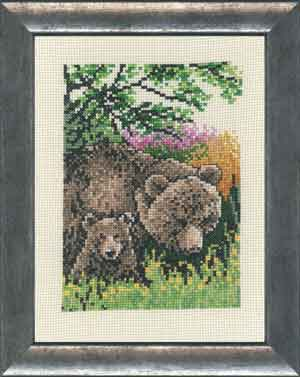 click here to view larger image of Brown Bear with Cub (counted cross stitch kit)