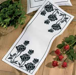 click here to view larger image of Rose Tablerunner (counted cross stitch kit)