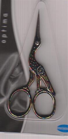 click here to view larger image of Premax 3.5in Stork Embroidery Scissors (Red/Blue Marbeleized) (accessory)