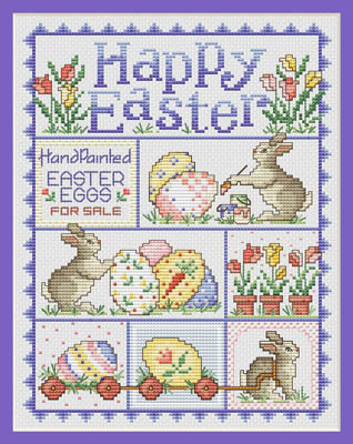 click here to view larger image of Happy Easter (chart with charms/buttons)