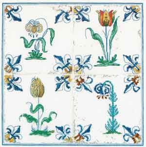 click here to view larger image of Antique Tiles - Flowers (counted cross stitch kit)