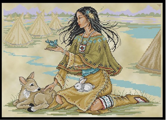 click here to view larger image of Native American Maiden (chart)