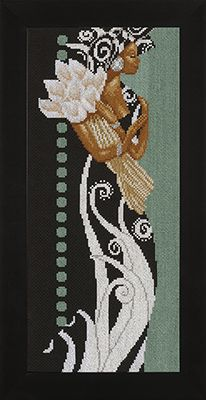 click here to view larger image of African Lady with Flowers - 27ct (counted cross stitch kit)