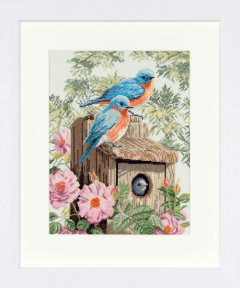 click here to view larger image of Garden Bluebirds - 27ct (counted cross stitch kit)
