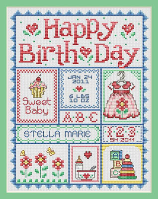click here to view larger image of Happy Birthday - Girl (chart)