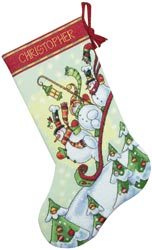click here to view larger image of Sledding Snowmen Stocking (counted cross stitch kit)