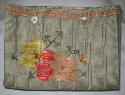 click here to view larger image of Bee Blossom Sewing Purse (counted cross stitch kit)