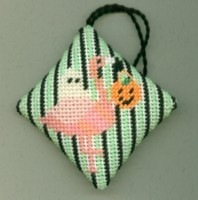 click here to view larger image of Halloween Flamingo Fob (hand painted canvas)