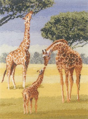 click here to view larger image of Giraffes (John Clayton) Power and Grace (counted cross stitch kit)