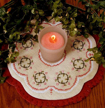 click here to view larger image of Little Candle Mats - Floral Wreath (chart)