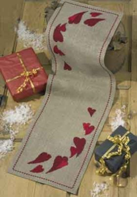click here to view larger image of Christmas Hearts Tablerunner (counted cross stitch kit)