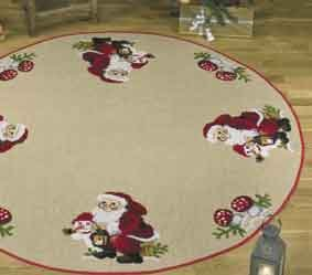 click here to view larger image of Santa w/snowman Tree Skirt (counted cross stitch kit)