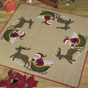 click here to view larger image of Santa in Sleigh Tree Skirt (counted cross stitch kit)