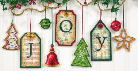 click here to view larger image of Joy Tag Ornaments (counted cross stitch kit)