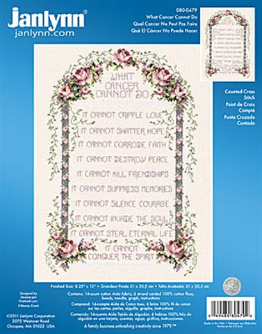 click here to view larger image of What Cancer Cannot Do (counted cross stitch kit)