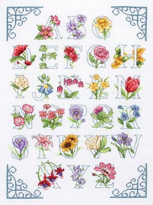 click here to view larger image of Floral Alphabet (counted cross stitch kit)