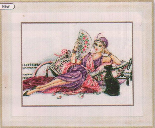click here to view larger image of Lady with Fan/Cat (aida) (counted cross stitch kit)