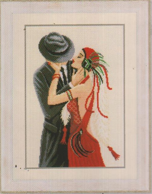 click here to view larger image of Couple Kissing (linen) (counted cross stitch kit)